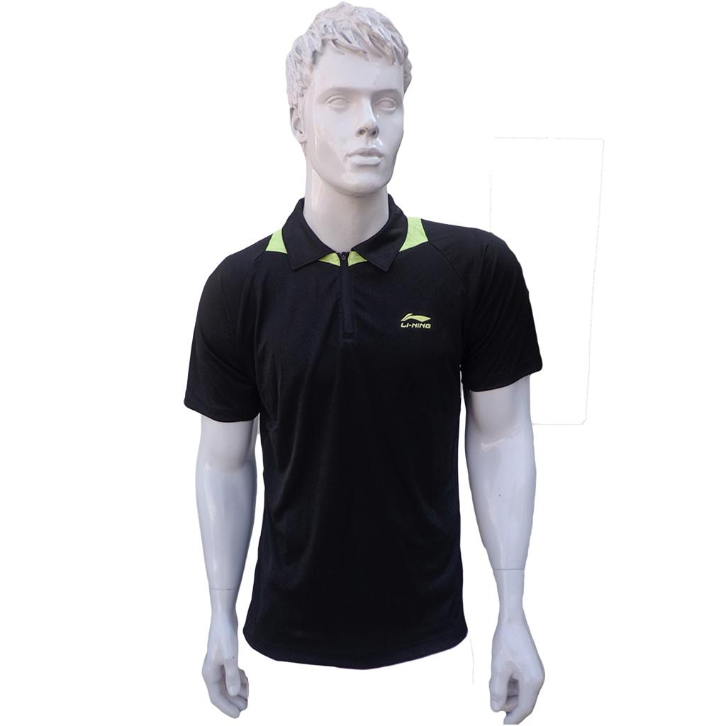 Lining t shirt mens polo tee half sleeve black size xl for Half sleeve t shirts for men