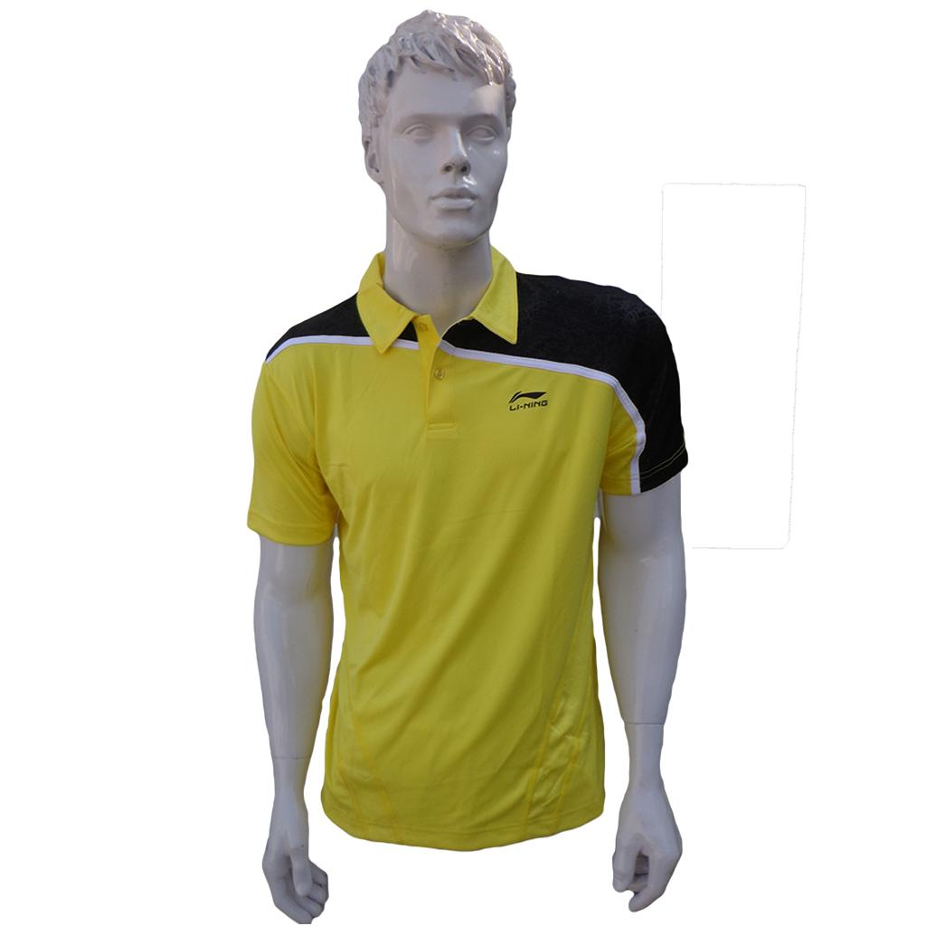 Spiderwire Logo Design T Shirt Size Medium Polyester: LiNing T Shirt Mens Polo Tee Half Sleeve Yellow And Black