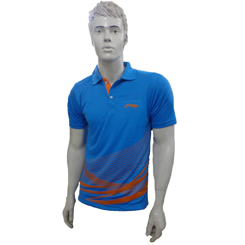 Lining T Shirt Color Neck With Half Sleeve Blue And Orange