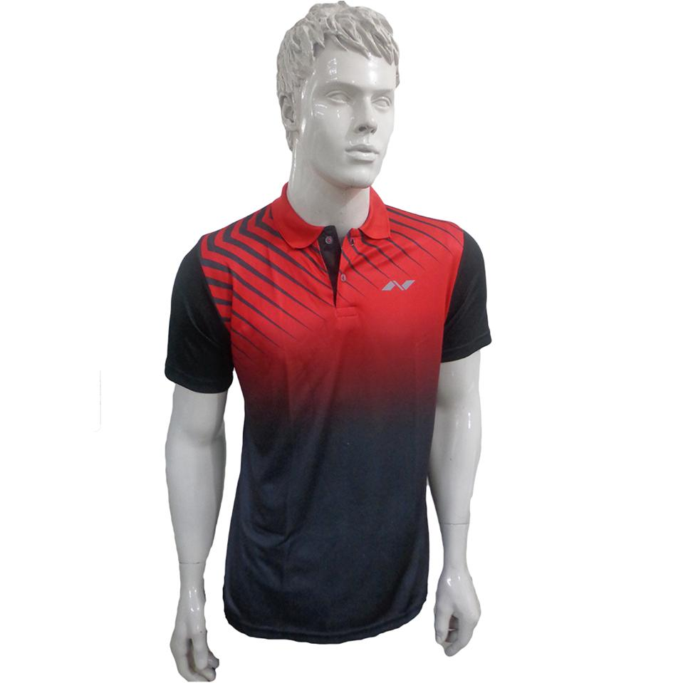 Nivia Badminton T Shirt Polo Tee Red And Black Color Neck