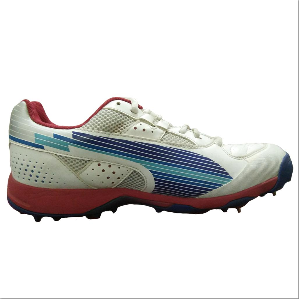 ea8a01b96 Puma Evo Speed Full Spike Cricket Shoes White Blue and Red - Buy ...