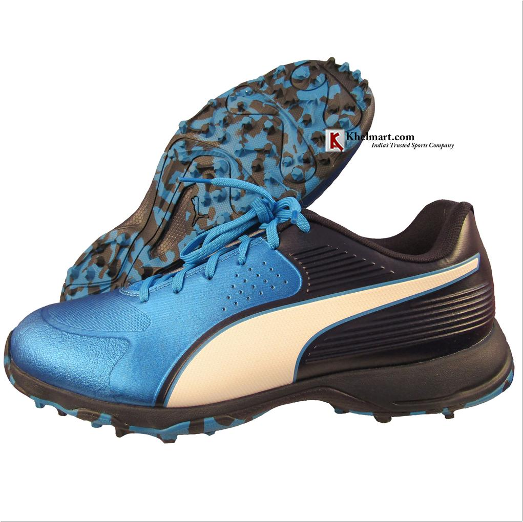 c79357197 Puma 19 FH Rubber Cricket Shoes Black and Blue - Buy Puma 19 FH ...