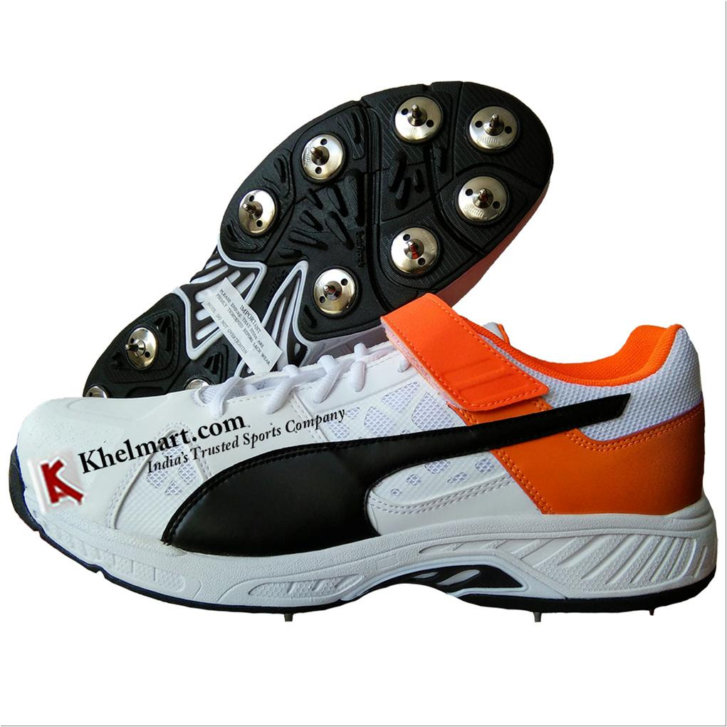 7ca06096d254bd Spike Puma EvoSpeed 18.1 Bowl Cricket Shoes White Black Orange and ...