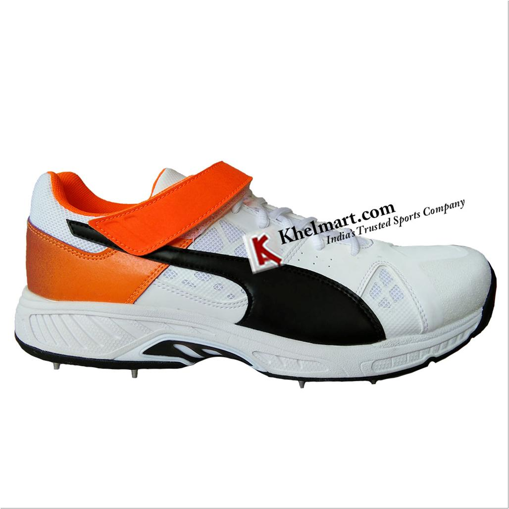 823e81ffb Spike Puma EvoSpeed 18.1 Bowl Cricket Shoes White Black Orange and ...