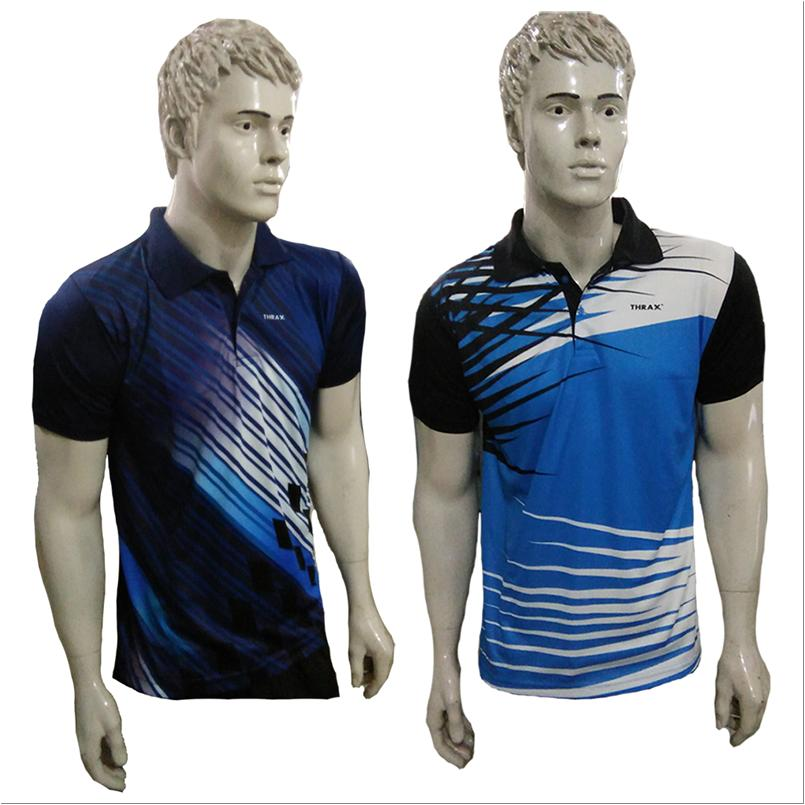 7f5346013 Combo Offer Thrax 2 Polo Badminton T shirt Sky Blue White and Black ...