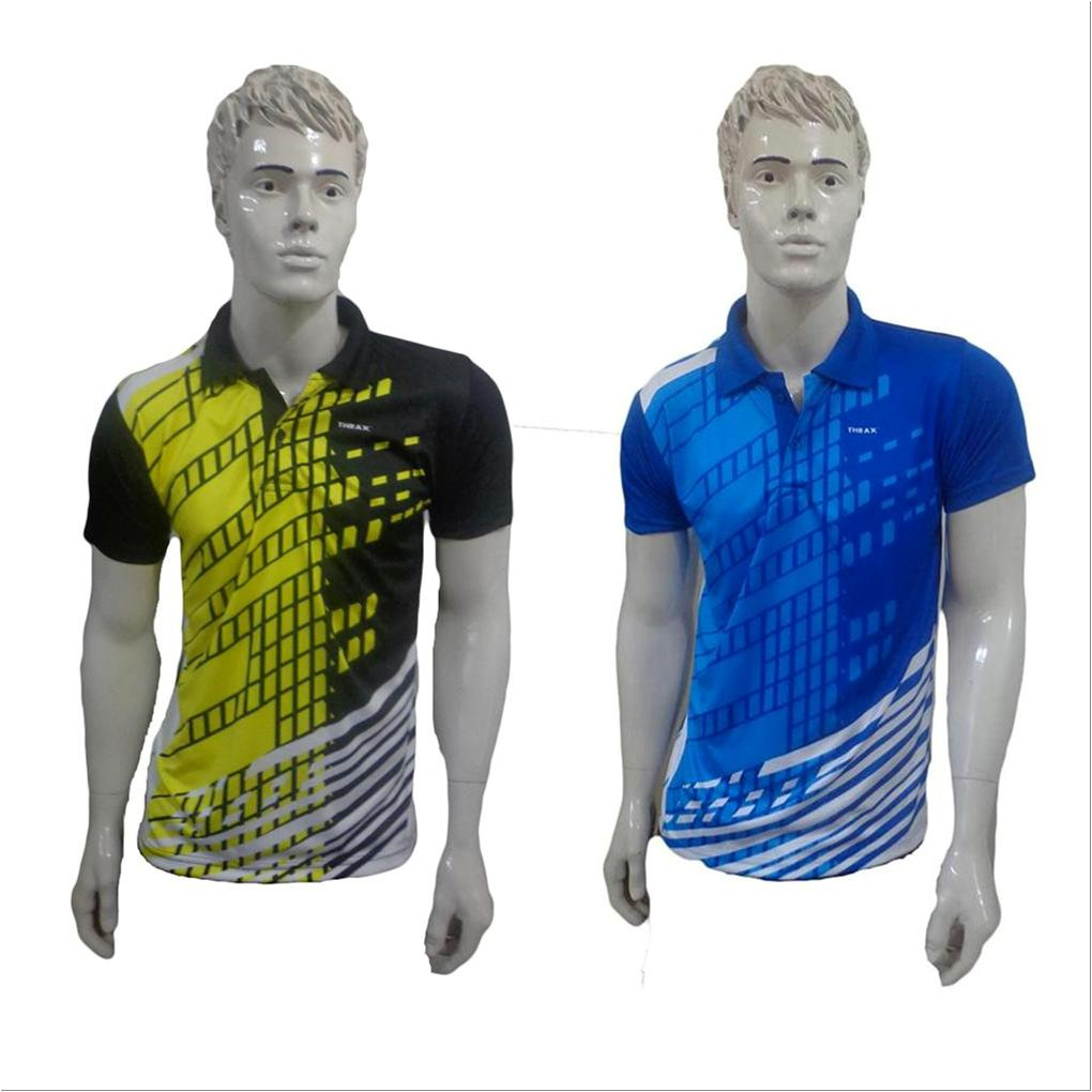 000af2655 Set Of 2 Thrax Badminton T shirt Size Large Black Yellow And Royal Blue and  White