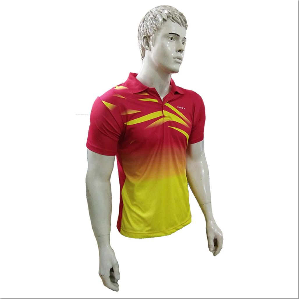 bd707f956 Combo Offer Thrax 2 Polo Badminton T shirt Red Yellow and Blue Size ...