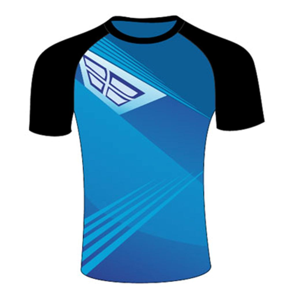 8020906b Thrax Sublimation Custom Made Round Neck Cricket T Shirt Black and Blue  Size large