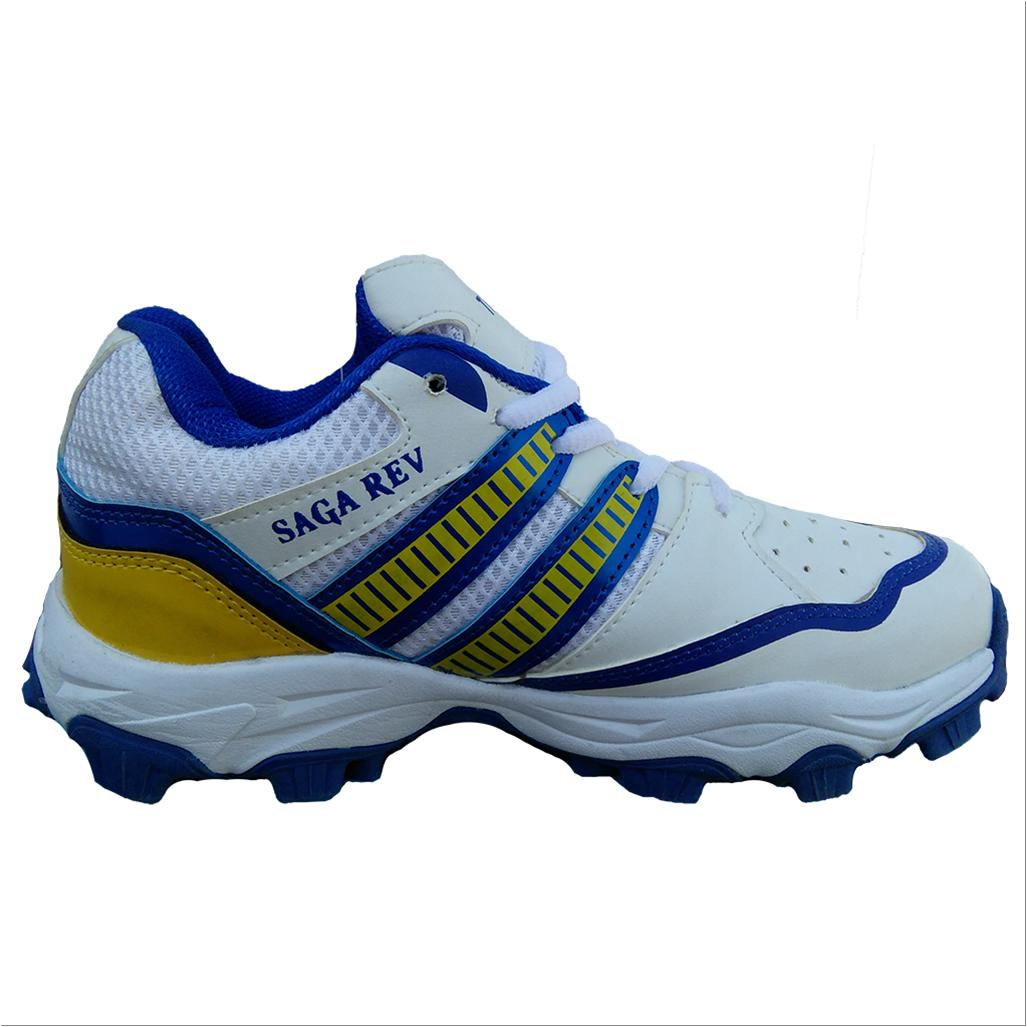 Thrax Saga Rev Cricket stud Shoes White Blue and Yellow ... Kids Swimming Black And White