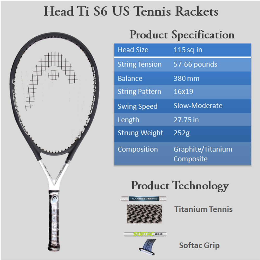 HEAD Tennis Rackets Ti S6 US