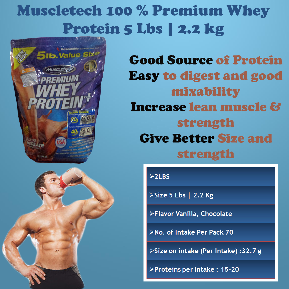 Muscletech 100 Premium Whey Protein 5 Lbs