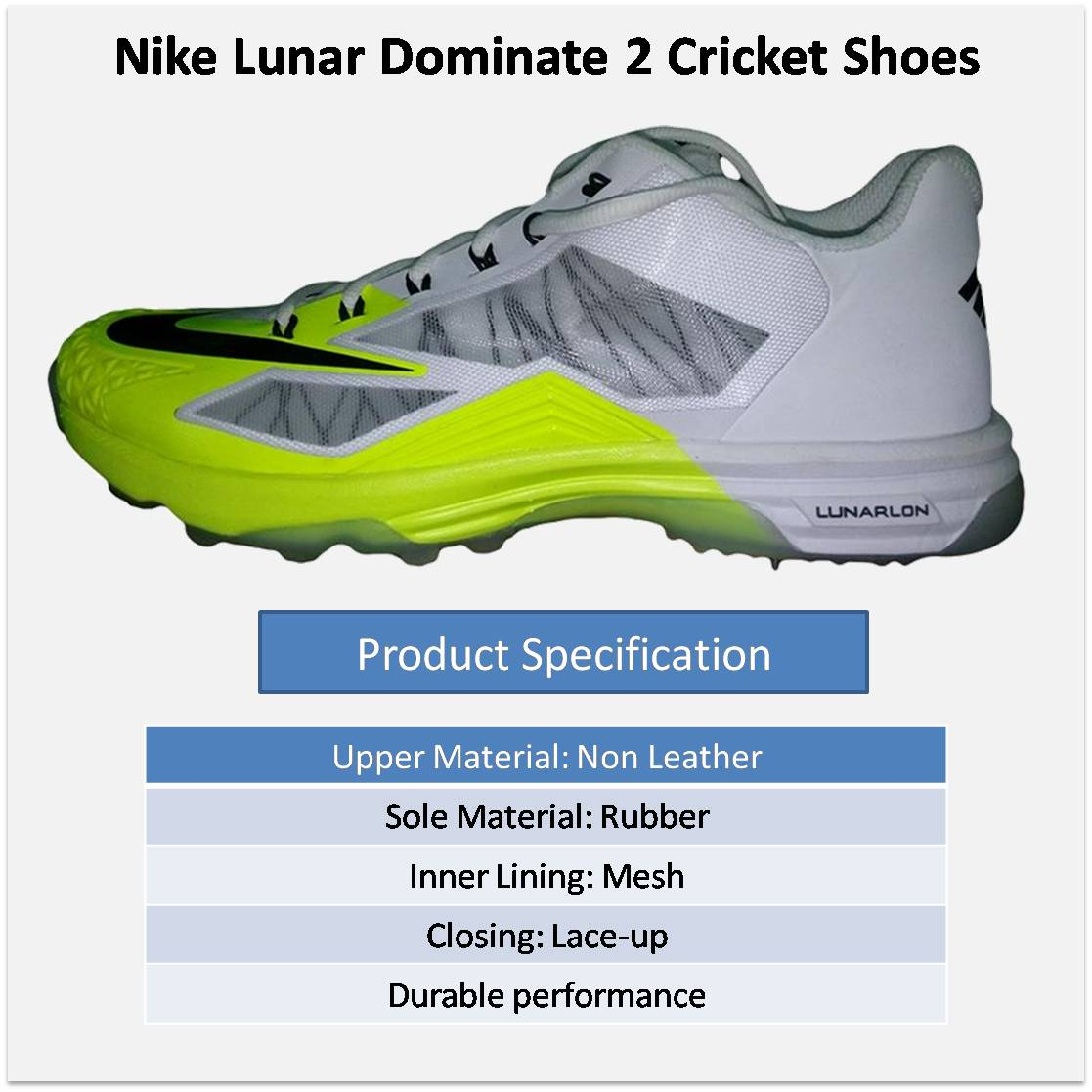 80ad6a9dde8f ... nike lunar dominate 2 cricket shoes alt1 .