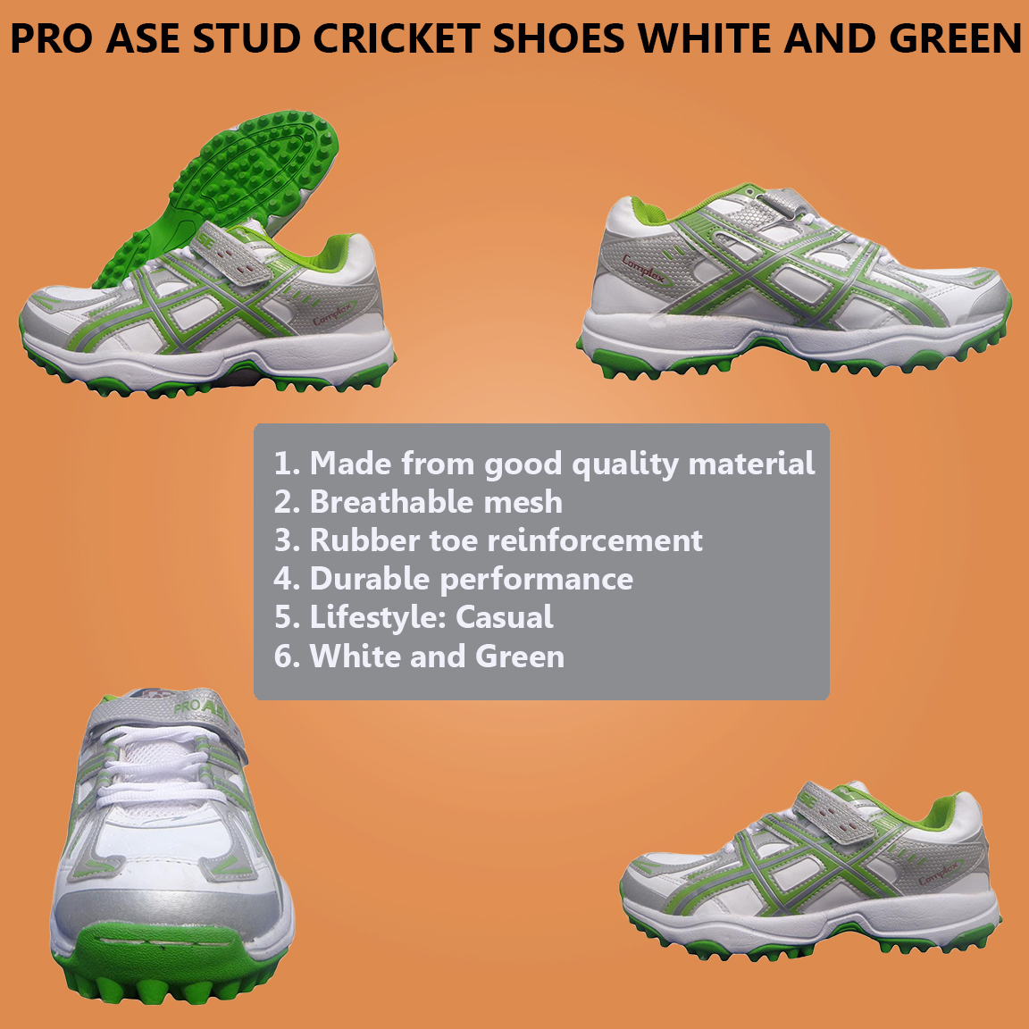 Pro Ase Stud Cricket Shoes White And Red