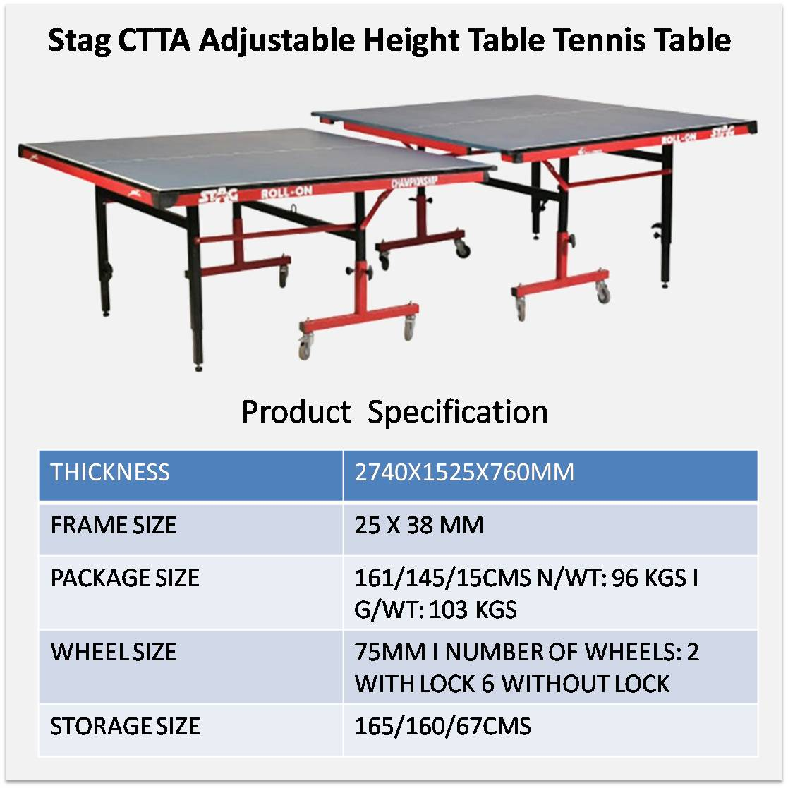Stag CTTA Adjustable Height Table Tennis Table   Buy Stag CTTA Adjustable Height  Table Tennis Table Online At Lowest Prices In India   | Khelmart.com