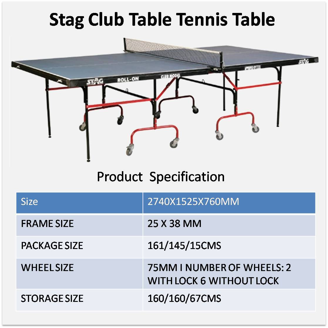 Stag Club Table Tennis Table   Buy Stag Club Table Tennis Table Online At  Lowest Prices In India     Khelmart.com