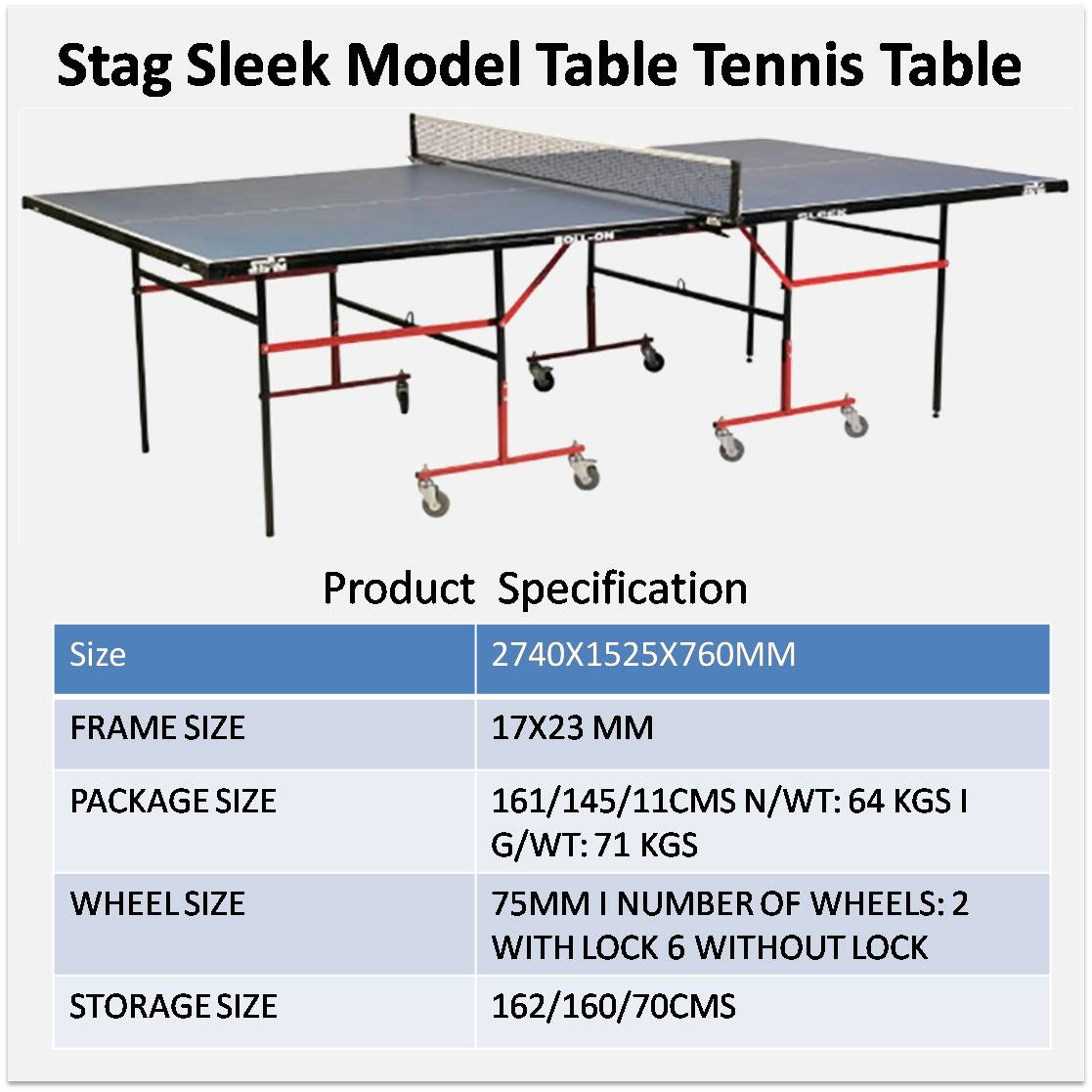 Stag Sleek Model Table Tennis Table   Buy Stag Sleek Model Table Tennis  Table Online At Lowest Prices In India   | Khelmart.com