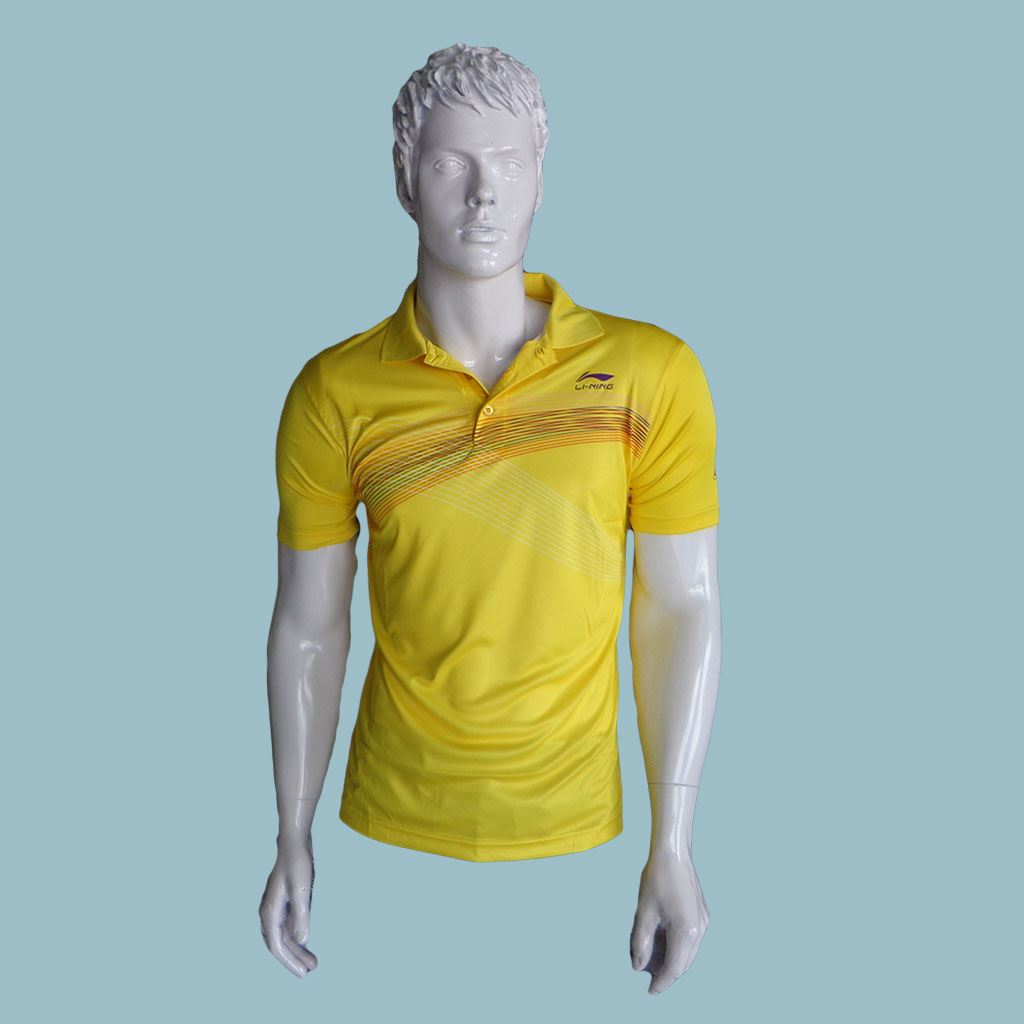 LiNing T Shirt color Neck with Half sleeve Yellow Size Medium