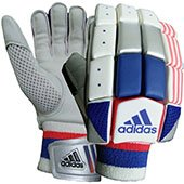 Adidas Club V1 Cricket Batting Gloves White Blue and Red