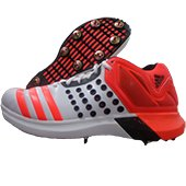 Adidas ADIPOWER Vector Mid Full Spike Cricket Shoes Red and White