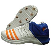 Adidas ADIPOWER Vector Mid Full Spike Cricket Shoes White Orange and Blue