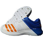 Adidas AdiPower Vector Spike Cricket Shoes White Blue and Orange