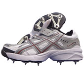 PRO ASE stud Full Spike Cricket Shoes White and Gray