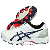Asics Gel 300 Not Out Full Spike Cricket Shoes color White and Peacoat