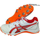 Asics Gel Gully 5 Full Spike Cricket Shoes color WHITE AND RED ALART