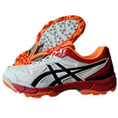 Asics Gel Peake 5 Cricket Shoes White Black and Red