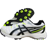 Asics Gel Gully 6 Full Spike Cricket Shoes White and Black