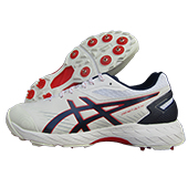 Asics 350 Not Out FF  Leather Full Spike Cricket Shoes White and Peacoat