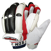 BDM Club Master Batting Gloves White Black Red LH