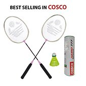 Set of 2 Cosco CB 120 Rackets and Aero 777 Badminton Shuttlecock Set