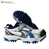 ESS ProMid Stud Cricket Shoes White Blue and Black
