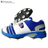 ESS Mid Full Spike Cricket Shoes White and Blue