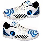 Feroc Mens Spirit Cricket Shoes White|Blue and Black