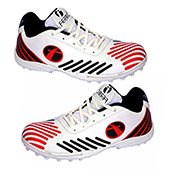 Feroc Mens Spirit Cricket Shoes White|Red and Black