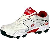 Feroc Mens Swag Cricket Shoes White| Red and Black
