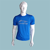 LiNing T Shirt Round Neck with Half sleeve Blue Size large Lifestyle