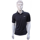 LiNing T Shirt color Neck with Half sleeve Black Size Large Lifestyle