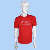 LiNing T Shirt Round Neck with Half sleeve Red Size Large Lifestyle