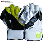 Gravity Signature Wicket Keeping Gloves White Black and Lime