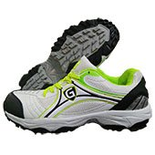Gravity Superb Stud Cricket Shoes White Black and Lime