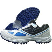 Gravity Grab 1 Stud Cricket Shoes White Blue and Black