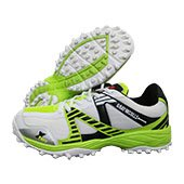 Gray Nicolls Velocity GN6 Rubber Stud Cricket Shoes White Black and Lime