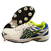 HDL Terminator Half Spike Cricket Shoes White Blue and Lime
