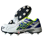 HDL Terminator Full Spike Cricket Shoes white blue and lime