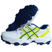 Hi Speed Stud Cricket Shoes White Blue and Lime