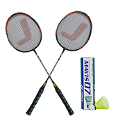 Yonex Mavis 07 Shuttlecock and Set of 2 Jetax Pro 6003 Badminton Racket Jointless