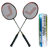 Yonex Mavis 200 i Shuttlecock and Set of 2 Jetax Pro 6003 Jointless Badminton Racket